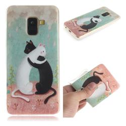 Black and White Cat IMD Soft TPU Cell Phone Back Cover for Samsung Galaxy A8 2018 A530