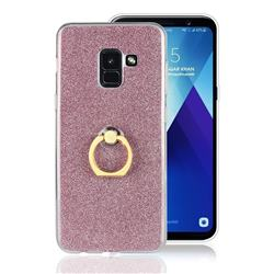 Luxury Soft TPU Glitter Back Ring Cover with 360 Rotate Finger Holder Buckle for Samsung Galaxy A8 2018 A530 - Pink
