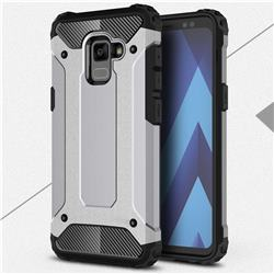 King Kong Armor Premium Shockproof Dual Layer Rugged Hard Cover for Samsung Galaxy A8 2018 A530 - Silver Grey