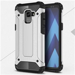 King Kong Armor Premium Shockproof Dual Layer Rugged Hard Cover for Samsung Galaxy A8 2018 A530 - Technology Silver