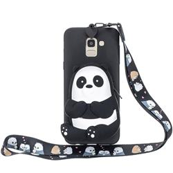 Cute Panda Neck Lanyard Zipper Wallet Silicone Case for Samsung Galaxy A8 2018 A530