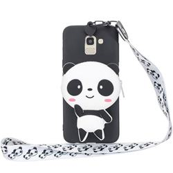 White Panda Neck Lanyard Zipper Wallet Silicone Case for Samsung Galaxy A8 2018 A530