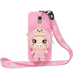 Pink Pig Neck Lanyard Zipper Wallet Silicone Case for Samsung Galaxy A8 2018 A530