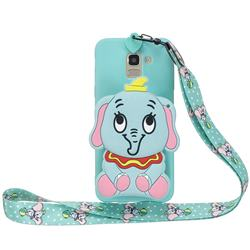 Blue Elephant Neck Lanyard Zipper Wallet Silicone Case for Samsung Galaxy A8 2018 A530