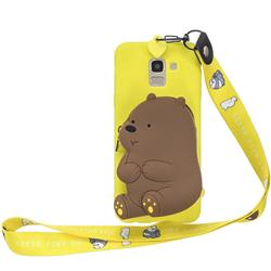 Yellow Bear Neck Lanyard Zipper Wallet Silicone Case for Samsung Galaxy A8 2018 A530