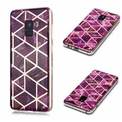 Purple Rhombus Galvanized Rose Gold Marble Phone Back Cover for Samsung Galaxy A8 2018 A530
