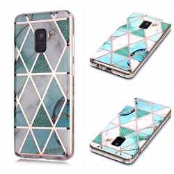 Green White Galvanized Rose Gold Marble Phone Back Cover for Samsung Galaxy A8 2018 A530