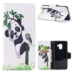 Bamboo Panda Leather Wallet Case for Samsung Galaxy A8 2018 A530