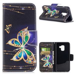 Golden Shining Butterfly Leather Wallet Case for Samsung Galaxy A8 2018 A530