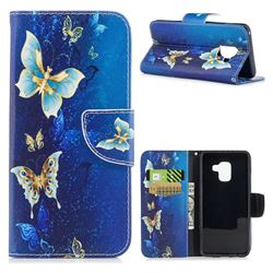 Golden Butterflies Leather Wallet Case for Samsung Galaxy A8 2018 A530