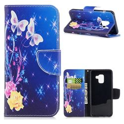 Yellow Flower Butterfly Leather Wallet Case for Samsung Galaxy A8 2018 A530