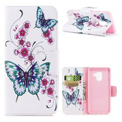 Peach Butterflies Leather Wallet Case for Samsung Galaxy A8 2018 A530