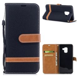 Jeans Cowboy Denim Leather Wallet Case for Samsung Galaxy A8 2018 A530 - Black