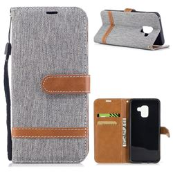 Jeans Cowboy Denim Leather Wallet Case for Samsung Galaxy A8 2018 A530 - Gray