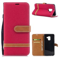 Jeans Cowboy Denim Leather Wallet Case for Samsung Galaxy A8 2018 A530 - Red