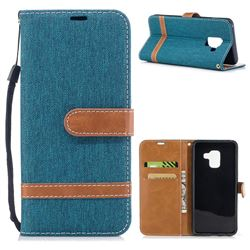 Jeans Cowboy Denim Leather Wallet Case for Samsung Galaxy A8 2018 A530 - Green