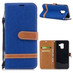 Jeans Cowboy Denim Leather Wallet Case for Samsung Galaxy A8 2018 A530 - Sapphire