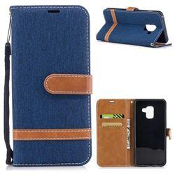 Jeans Cowboy Denim Leather Wallet Case for Samsung Galaxy A8 2018 A530 - Dark Blue