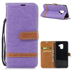 Jeans Cowboy Denim Leather Wallet Case for Samsung Galaxy A8 2018 A530 - Purple