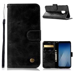 Luxury Retro Leather Wallet Case for Samsung Galaxy A8 2018 A530 - Black