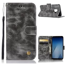 Luxury Retro Leather Wallet Case for Samsung Galaxy A8 2018 A530 - Gray