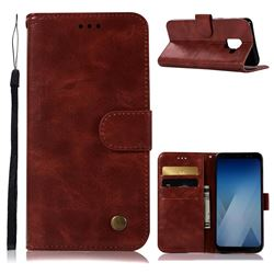 Luxury Retro Leather Wallet Case for Samsung Galaxy A8 2018 A530 - Wine Red