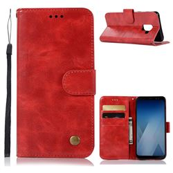 Luxury Retro Leather Wallet Case for Samsung Galaxy A8 2018 A530 - Red