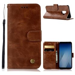 Luxury Retro Leather Wallet Case for Samsung Galaxy A8 2018 A530 - Brown