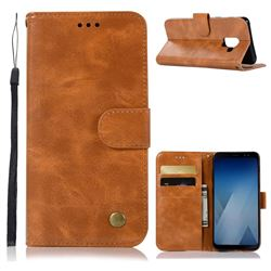 Luxury Retro Leather Wallet Case for Samsung Galaxy A8 2018 A530 - Golden