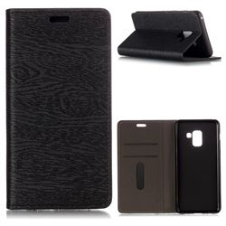 Tree Bark Pattern Automatic suction Leather Wallet Case for Samsung Galaxy A8 2018 A530 - Black