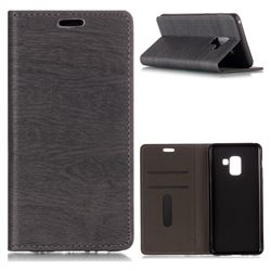 Tree Bark Pattern Automatic suction Leather Wallet Case for Samsung Galaxy A8 2018 A530 - Gray