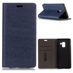 Tree Bark Pattern Automatic suction Leather Wallet Case for Samsung Galaxy A8 2018 A530 - Blue