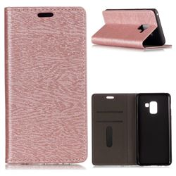Tree Bark Pattern Automatic suction Leather Wallet Case for Samsung Galaxy A8 2018 A530 - Rose Gold