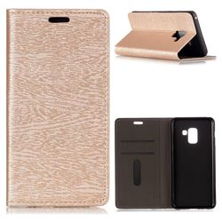 Tree Bark Pattern Automatic suction Leather Wallet Case for Samsung Galaxy A8 2018 A530 - Champagne Gold