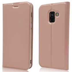 Ultra Slim Card Magnetic Automatic Suction Leather Wallet Case for Samsung Galaxy A8 2018 A530 - Rose Gold