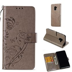Embossing Butterfly Flower Leather Wallet Case for Samsung Galaxy A8 2018 A530 - Grey