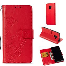Embossing Butterfly Flower Leather Wallet Case for Samsung Galaxy A8 2018 A530 - Red