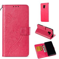 Embossing Butterfly Flower Leather Wallet Case for Samsung Galaxy A8 2018 A530 - Rose