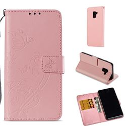 Embossing Butterfly Flower Leather Wallet Case for Samsung Galaxy A8 2018 A530 - Pink