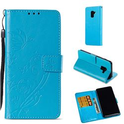 Embossing Butterfly Flower Leather Wallet Case for Samsung Galaxy A8 2018 A530 - Blue