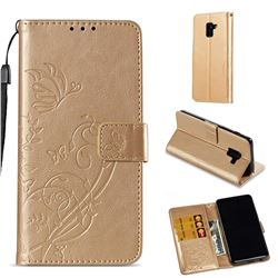 Embossing Butterfly Flower Leather Wallet Case for Samsung Galaxy A8 2018 A530 - Champagne