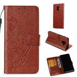 Embossing Butterfly Flower Leather Wallet Case for Samsung Galaxy A8 2018 A530 - Brown