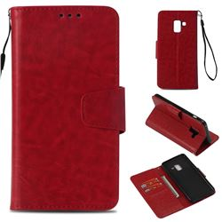 Retro Phantom Smooth PU Leather Wallet Holster Case for Samsung Galaxy A8 2018 A530 - Red