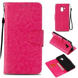 Retro Phantom Smooth PU Leather Wallet Holster Case for Samsung Galaxy A8 2018 A530 - Rose