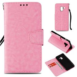 Retro Phantom Smooth PU Leather Wallet Holster Case for Samsung Galaxy A8 2018 A530 - Pink