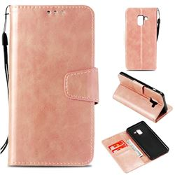 Retro Phantom Smooth PU Leather Wallet Holster Case for Samsung Galaxy A8 2018 A530 - Rose Gold