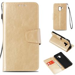 Retro Phantom Smooth PU Leather Wallet Holster Case for Samsung Galaxy A8 2018 A530 - Champagne
