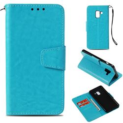 Retro Phantom Smooth PU Leather Wallet Holster Case for Samsung Galaxy A8 2018 A530 - Sky Blue
