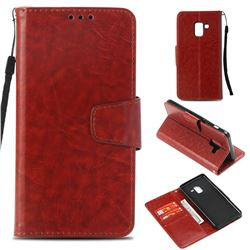 Retro Phantom Smooth PU Leather Wallet Holster Case for Samsung Galaxy A8 2018 A530 - Brown