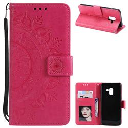 Intricate Embossing Datura Leather Wallet Case for Samsung Galaxy A8 2018 A530 - Rose Red